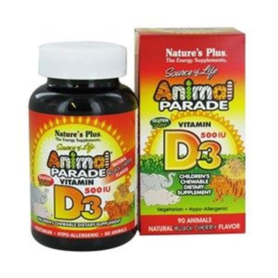 Picture of Natures Plus Animal Parade Vitamin D3 500 IU Children's Chewable - Natural Black Cherry Flavour