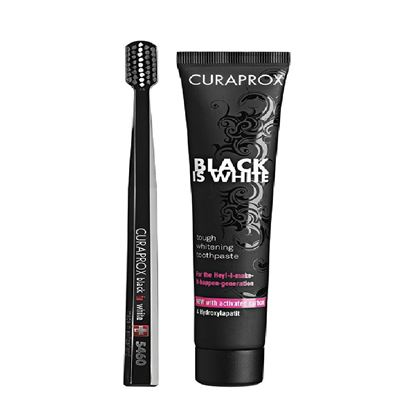 Picture of Curaprox Black is White Whitening Toothpaste & Brush